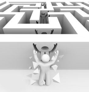 Man Breaks Through Maze