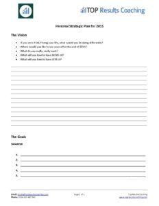Personal Strategic Plan 2015