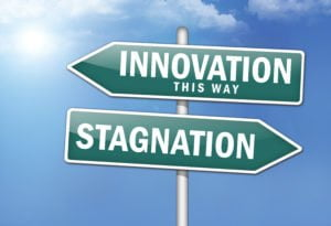 "Way Signs ""Innovation, This Way – Stagnation"""